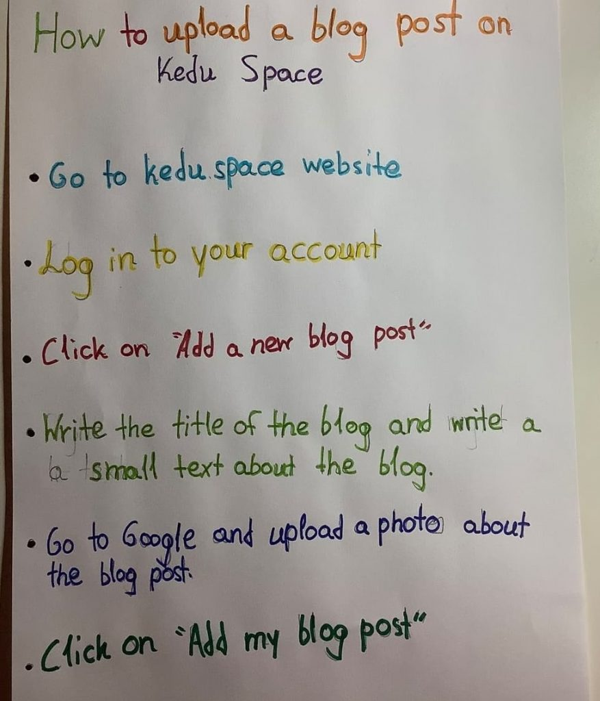 Victoria's instructions to upload a blog post