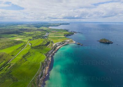 Aerial view of cliffs along the Atlantic Coast of Northern Ireland, UK