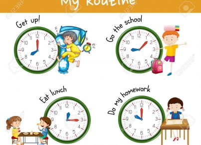 Children activities at different times of day